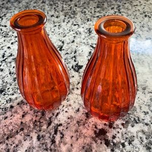 Two mini translucent glass bud vases - Never Used